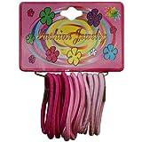 12 Elastik Haargummis B. ca. 3mm/D. ca. 35mm, rosa - pink (versch. Farbtöne), Haar - Gummi Zopfgummi, Haarschmuck, 0777