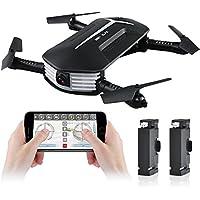 RC Drone Quadcopter avec Caméra WiFi Pliable Drone 2.4G 4Ch 6-Axis FPV Drone Le Mode sans Tête,Altitude Hold par APP et la Télécommande + une Batterie Supplémentaire