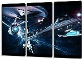 Star Trek 3teilig im Gesamtmaß 120x80 cm, Leinwandbild auf Holzrahmen gespannt, Leinwandbild, 1A...