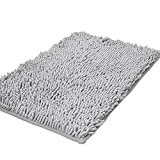 Zotteliger Bad-Teppich, Duschmatte für Badezimmer, saugfähig, rutschfest, Shaggy Teppich, 40x 60cm, Chenille, hellgrau, 40 x 60 cm
