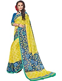 Salwar Studio Women's Yellow & Blue Linen Cotton Floral Printed Saree With Blouse Piece