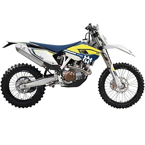 Maisto Husqvarna FE 501: Originalgetreues Motorradmodell 1:12, mit beweglichem Ständer, Federung und frei rollenden Rädern, 17 cm, blau-weiß (5-16921)