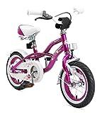 BIKESTAR Premium Sicherheits Kinderfahrrad 12 Zoll für Mädchen ab 3-4 Jahre ★ 12er Kinderrad Cruiser ★ Fahrrad für Kinder Violett