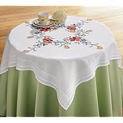 Mantel bordado Kit con alfombra de flores diseño con amapolas y Cornflowers diseño mantel de 80x 80cm) patrón de punto de cruz 100% hilo de algodón muy alta calidad empezar inmediatamente
