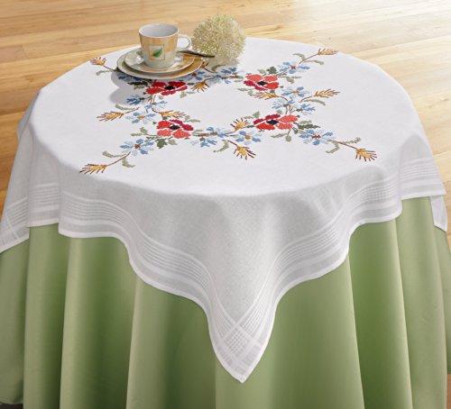 Mantel bordado Kit con alfombra de flores diseño con amapolas y Cornflowers...