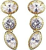Anazoz Élégant Noble Boucle d'oreille Femme 18K Plaqué Or Ovale Design Incrusté...