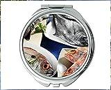 Yanteng Spiegel, Kompaktspiegel, Betafischmotiv des Taschenspiegels, tragbarer Spiegel 1 X 2X Vergrößerung