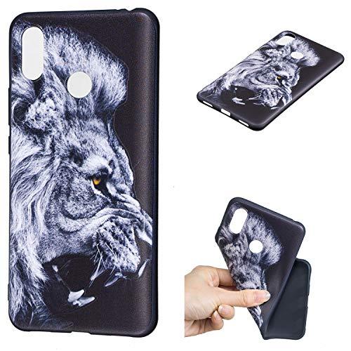 Qiaogle Teléfono Caso para Xiaomi Mi MAX 3 - Funda de TPU Silicona Carcasa Case Cover - HC36 / Blanco Lion