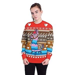 Damen Weihnachtspullover Langarm Rundkragen Sweatshirt Christmas 3D Cartoon Pferd Drucken Freizeit Farbe Neuheit Top