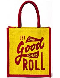 H&B Beautiful, Trendy & Stylish Yellow Color Jute Handbag/Quality Lunch Bag (Let The Good Time Roll, Size, Height...