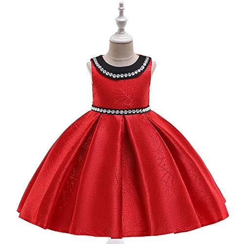 CHANMI Kinderkleid Prinzessin Kleid Schmiedeeisen Jacquard Hochzeit Blumenmädchen Kleid ärmellose Puppe Kragen Klavier Kostüm,Red,130 - Schmiedeeisen Ball