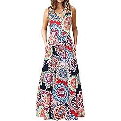 DaySing Robe Robe De SoiréE, sans Manches Plaine Ample sans Manches à Manches Longues pour Femme Poitrine Cross Floral Mode Nouveau LâChe Confortable