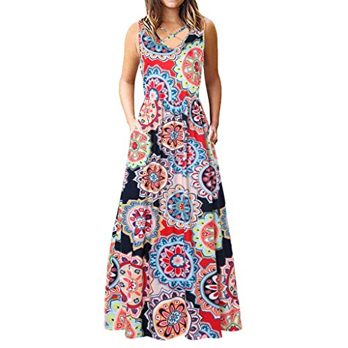 DaySing Robe Robe De SoiréE, sans Manches Plaine Ample sans Manches à Manches Longues pour Femme Poitrine Cross Floral Mode Nouveau LâChe Confortabl