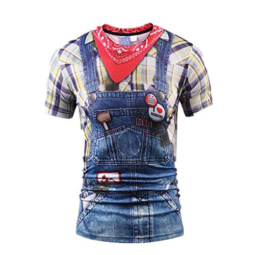 BHYDRY Herren Casual Funny Faux Rednecks Cowboy 3D-Druck Kurzarm T-Shirt Top Bluse
