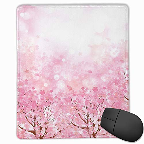 Mouse Mat Stitched Edges, Japanese Cherry Blossom Sakura Tree With Romantic Influence Asian Nature Theme,Gaming Mouse Pad Non-Slip Rubber Base -