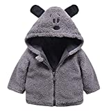 Longra Baby Winterjacke Mädchen Jungen Fleecejacke Teddyjacke Cartoon Fleecemantel Strickfleecejacke Kuscheljacke Kurz Teddyjacke Baby Warm Strickjacke Kapuzen Zip Jacket (70CM 6Monate, Grau)