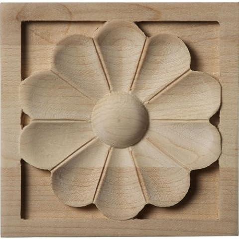 Ekena Millwork ROS03X03X01MEMA Medium Medway Rosette, 3 1/2-Inch x 3 1/2-Inch x 3/4-Inch, Maple