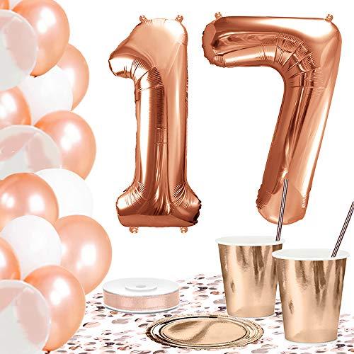 DekoGuru® Partyset in rosé Gold - für 18 Personen (17. Geburtstag) (Ballons Geburtstag 17)