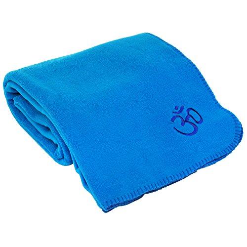Yogadecke ASANA BLANKET, Kuscheldecke für Shavasana, Fleecedecke mit OM-Stickerei,140 x 200cm, blau (Fleece-yoga)