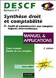 DESCF, UV 1 - Synthèse droit et comptabilité, manuel et applications, tome 2