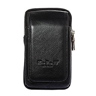 Bauchtasche aus Leder von Aovolo, multifunktionales Holster für iPhone 8 Plus, auch hochwertigem Echtleder mit Gürtelschlaufen, ultradünn, für Herren, schwarz 1, L-V1