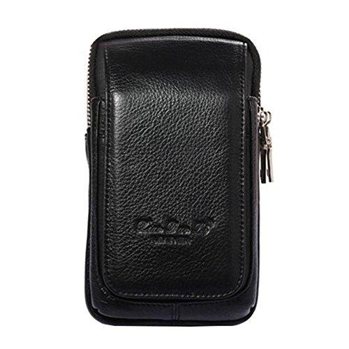 Schwarze Leder-gürtel-tasche (AOLVO multi-funtional Holster für iPhone 8Plus, Premium Echt Leder Gürteltasche Holster Schutzhülle Tasche Gürtelclip Tragetasche mit Gürtelschlaufen Ultrathin Taille Tasche Herren Geldbörse, schwarz 1)