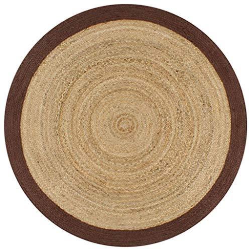 Tidyard Alfombra Yute Redonda Alfombra de Yute Exterior Alfombra de Yute Tejida a Mano con Borde Natural y marrón 120 cm