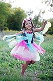Trullala Blüten-Feenkleid mit Flügeln, Kinder-Faschingskostüm Größe: M, in grün/pink