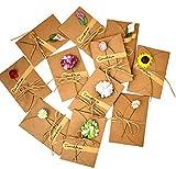 Monbedos 10pezzi biglietti d' auguri fatti a mano retro Kraft Envelope Flower cartolina, regalo ideale per la festa della mamma o per San Valentino, matrimonio inviti (random Flower Style), Carta, L, 6.89*4.33 inch(175*110 mm)