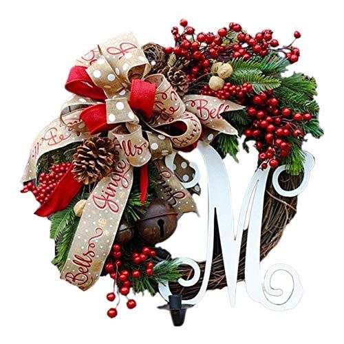 Ghirlande Natalizie per Porta d'ingresso, Pendenti gioiosi Natalizi Porta Corona appesi a Parete, per la Decorazione della Finestra di Natale, Regalo Ghirlanda Fatta a Mano, 5 T