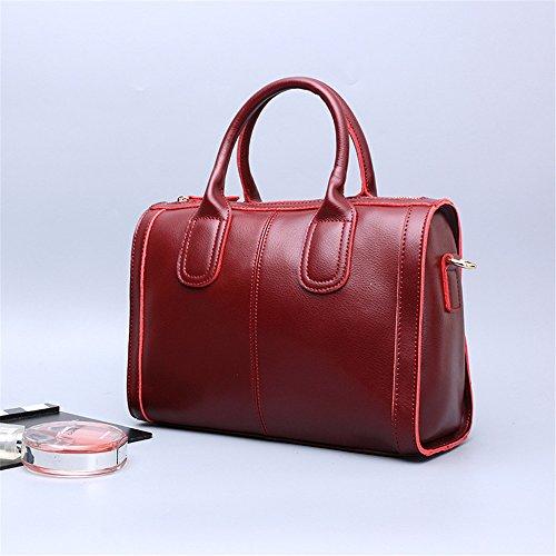 Xinmaoyuan Borse donna borsa di Boston Borsetta tracolla Borsa Tempo Libero Messenger Bag,vino rosso