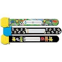 Sigel SY430 Kinder-Sicherheits-Armband Set zum Beschriften, Motive: Fußball Totenköpfe Monster, 3 Stück, 19.7 cm