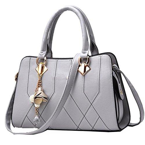 WU ZHI Damen Schultertasche Wild Large Capacity Messenger Bag Handtasche PU Handtasche Grey