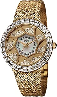 Burgi Women's Quartz Watch with Mother of Pearl Dial Analogue Display and Gold Metal Bracelet BUR1