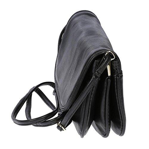 Kleine Damentasche Umhängetasche Tasche Schultertasche hochwertiges Kunstleder Schwarz Braun