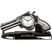 Foxtop Revolver Creativo Della Pistola Della Pistola Del Lato del Letto a Forma di Sveglia con una Staffa Basamento del Supporto Aziendale, Orologi da Tavolo per i Regali per Bambini