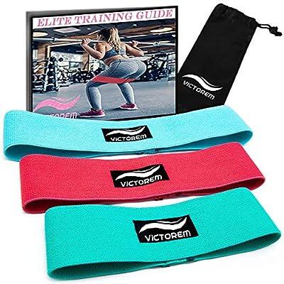 Victorem Booty Hip Band Theraband Set – 3X Fitnessband für Bein- und Po-Training mit Workout Guide und praktischer Tragetasche. von Victorem