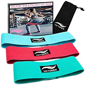 Victorem Booty Hip Band Theraband Set – 3X Fitnessband für Bein- und Po-Training mit Workout Guide und praktischer Tragetasche.