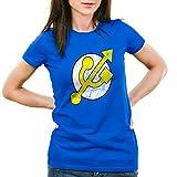 CottonCloud USB Hero Damen T-Shirt, Farbe:Blau;Größe:2XL