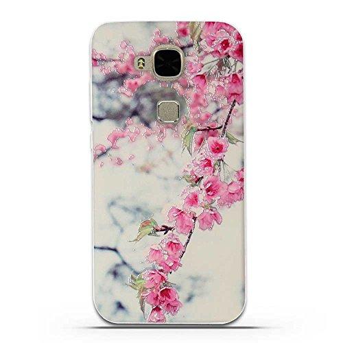 Huawei G8 / G7 Plus (GX8 D199 ) Cover, Fubaoda 3D Rilievo Bel fiore UltraSlim TPU Skin Cover Protettiva Shell Custodia per Huawei G8 / G7 Plus (GX8 D199 )