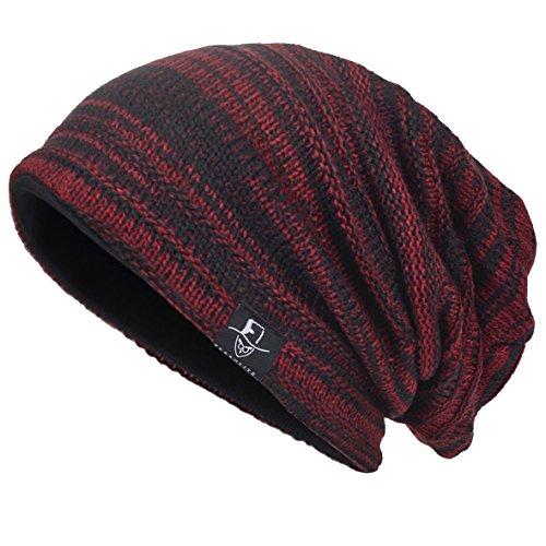 VECRY Herren Slouchy Stricken Übergroße Beanie Skull Caps Künstlerische Hüte (Rotwein) -