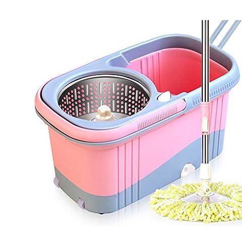 BEITE- Twirl Wet Spin Mop And Bucket System pour le nettoyage des sols, Easy Wring Mousseline de plancher humide avec balai lavable en microfibre