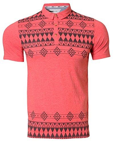 D CODE Herren Polo Shirt Aztec Muster Kragen Kurzarm 1X2260 Poppy rot marl