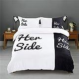 CHAOSE Schwarz und weiß Bettwäsche Set,Superweiche Polyester-Baumwolle,3-teilig (1 Bettbezug + 2 Kissenbezüge 48x74cm) (King Size(220x240CM 2M Breites Bett))