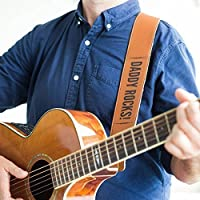 Personalised Leather Guitar Strap - Customised leather guitar strap, for guitar, banjo, bass guitar & more, personalized guitar gift for musician