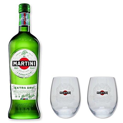 Martini Extra Dry 15% 0,75l - Set mit 2 original Martini Gläser
