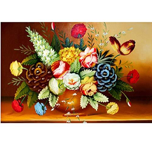 CYKEJISD Malen Nach Zahlen Print Vase Blume Kräuter-Serie Großes Bild DIY Wanddekor DIY Malerei Auf Leinwand Für Wohnkultur - Tiger Kraut