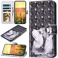 Robinsoni Funda Compatible con Samsung Galaxy S9 Funda Libro Billetera Funda Folio Flip Cuero Kickstand Funda Animal Impreso Cartera en Silicone Funda Estilo del Libro Interior de Silicona Funda Husky