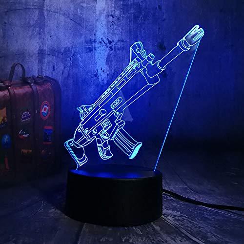 2 PACK, NUEVO Juego Cool For Battle Royale PUBG TPS SCAR-L Rifle LED Lámpara de escritorio con luz nocturna RGB 7 Color Niños Niños Juguete Decoración para el hogar Regalo de Navidad