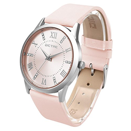 Dictac-Wristwatch-Lady-Analg-Quartz-Pink-Leather-Strap-98ft-Waterproof-Classic-Round-Watch